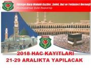 2018 HAC KAYITLARI BAŞLADI
